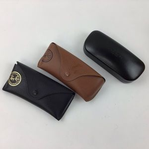 3 eye glass  sunglass cases, Coach and 2 Ray Ban